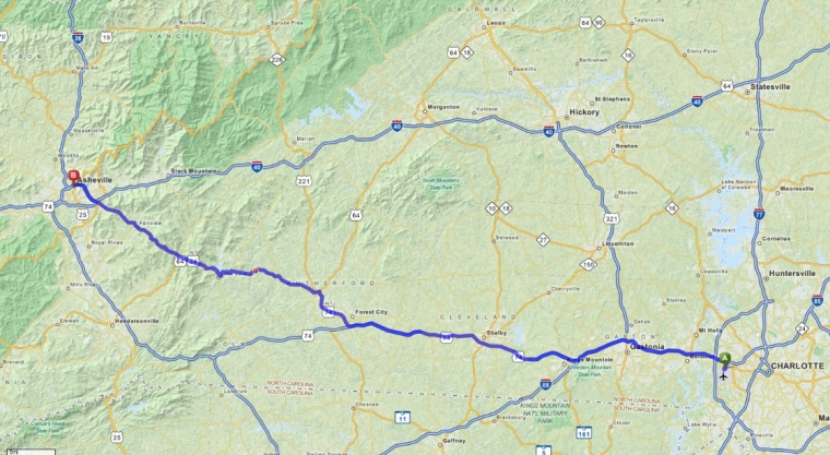 map to asheville