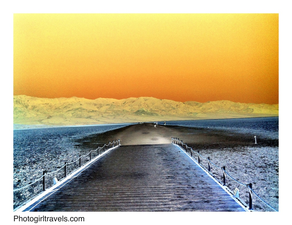 Inverted photo taken at Badwater in Death Valley, California