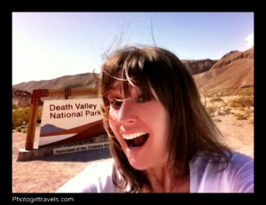 Here I am at the Death Valley welcome sign! Hi!!!!!