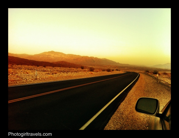 Back road in Death Valley taken at sunset heading to a Ghost Town