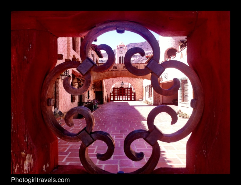 View into the courtyard at Scotty's Castle in Death Valley