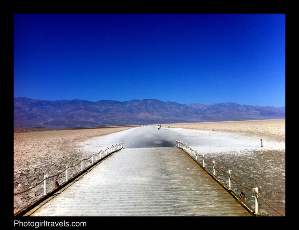 Walk out over the salt beds in Badwater in Death Valley, California