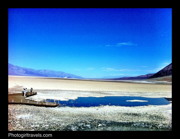 View from the parking lot out over to the observation deck at Bad Water in Death Valley