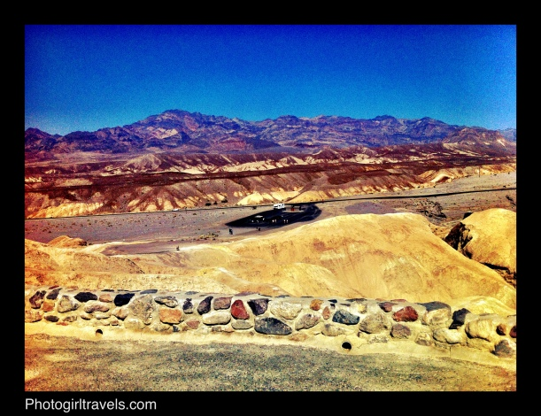 Zabriskie Point in Death Valley looking back at the parking lot