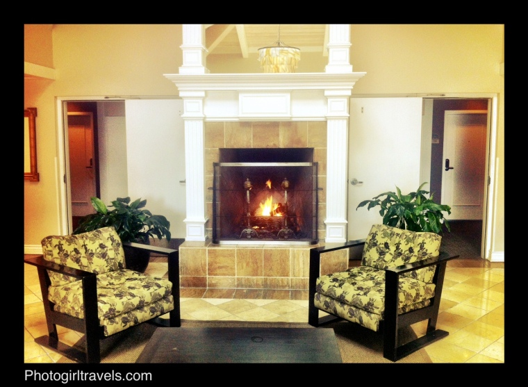 The Beach House Hotel in Hermosa Beach, California - Lobby with gas fireplace