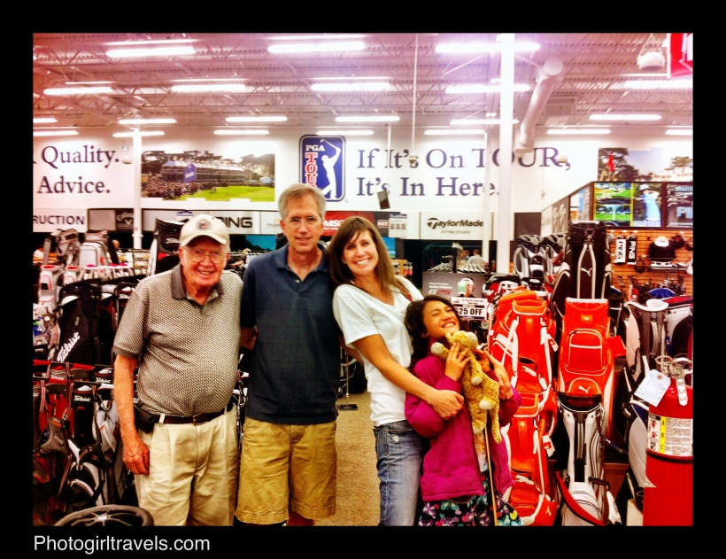 Papa Stan (my Dad), Steve (my brother) and my beautiful niece Ally! Picking up my new irons
